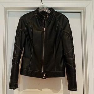 Black genuine leather jacket